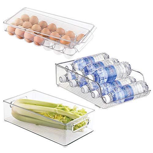 mDesign 3er-Set Kühlschrank Organizer aus Kunststoff – Set beinhaltet Kühlschrankbox, Flaschenhalter und Eierbox mit Deckel – ideal für Kühlschrank und Speisekammer – durchsichtig