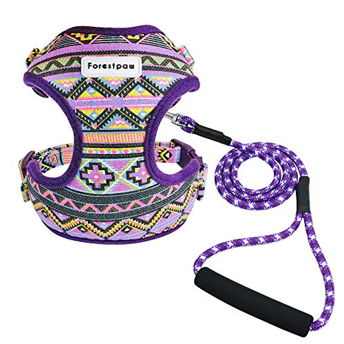Forestpaw Multi-Colored Stylish Dog Walking Vest Harness and Leash Set- Vintage Tribal Pattern No Pull Dog Harness for Walking Small Medium Dogs,Purple,S