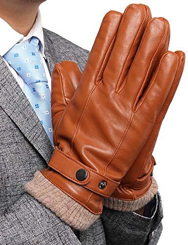 FLY HAWK Lederhandschuhe, Herren Winterhandschuhe aus Echtem Leder Touchscreen Elegant Handschuhe Warm gefütterte Geschenk-Verpackung