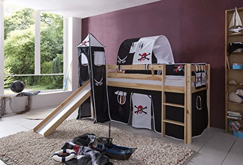 Tony Lit mezzanine avec toboggan pin naturel Pirate