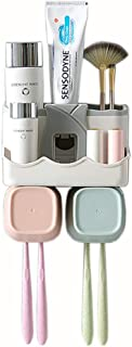 QIANYIYUAN Toothbrush Holder Set, Save Space No Drill Wall Mount Toothpaste Dispenser and Multi-Functional Slots Bathroom Organizer with Water Drainer (Small)