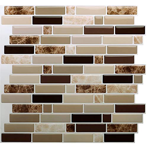 Vamos Tile 12  x 12  Peel and Stick Self Adhesive Kitchen Backsplash, Stick On Tile Backsplash for Kitchen & Bathroom(10 Sheets)