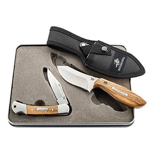 Winchester Messer-Set Taschenmesser Lasso, Back Lock, Gürtelmesser BARRENS, Stahl 7Cr17MoV, Metallbox