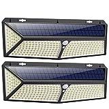 Solarlampen für Außen mit Bewegungsmelder,【288LED mit USB Wiederaufladbar 】VOOE Solarleuchten für Außen 2500 Lumen Solar Wasserdichte Wandleuchte Solar Aussenleuchte Solarlicht für Garten-2 Stück