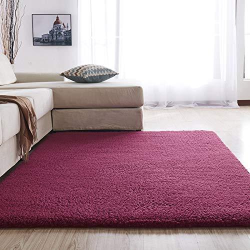 Alfombra ZWRY Alfombras mullidas para dormitorio/sala de estar Alfombra suave antideslizante de felpa de gran tamaño 100x160cm39x63inch Vino tinto