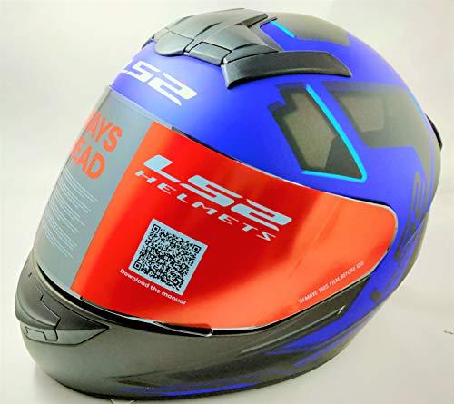 LS2 Helmets - FF352 Rookie - Iron Face - Matt Black Blue - Single Mercury Visor Full Face Helmet - (Large - 580 MM)