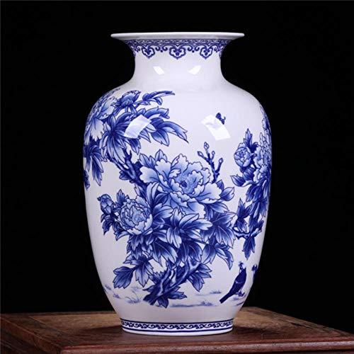 ETHAN Vasi di Porcellana Blu e Bianca Jingdezhen Vaso Cinese fine Osso Peonia Ceramica Decorata F