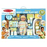 Melissa & Doug Mine to Love Deluxe Baby Care Play Set (48 Pieces – Doll + Accessories to Feed, Bathe, Change, and Cuddle)