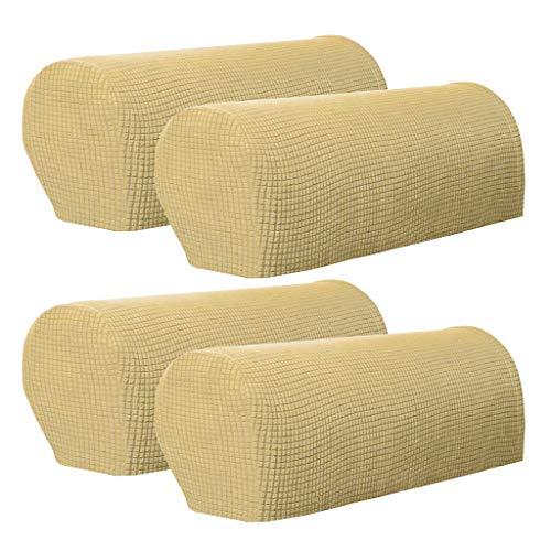 JoyMerit - Juego de 4 fundas para reposabrazos de sofá de tejido elástico, antideslizantes