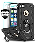 LeYi iPhone se Case (2016), iPhone 5s Case, iPhone 5 Case with Tempered Glass Screen Protector [2Pack], Military Grade Phone Case with Ring Magnetic Car Mount Kickstand for iPhone 5/5s/se, Black