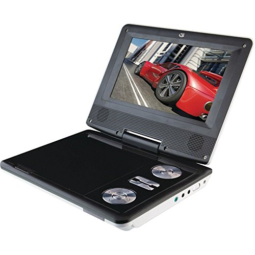 Portable DVD Player 7.9 inc. LCD TV | Rechargeable DVD DVD Player with Tv Player 360° Swivel Screen, AV-in/Out, SD Card and USB Port, 5h Rechargeable Battery