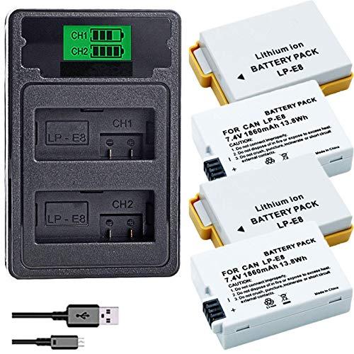 Grehod LP-E8 LPE8 LP E8 batería de la cámara AKKU + LCD Cargador Dual USB para Canon EOS 550D 600D 650D 700D chargerand4battery