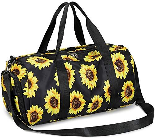Sport Gym Duffle Travel Bag Women Ladies with Shoe Compartment, Wet Pocket (E0110 SunFlower)