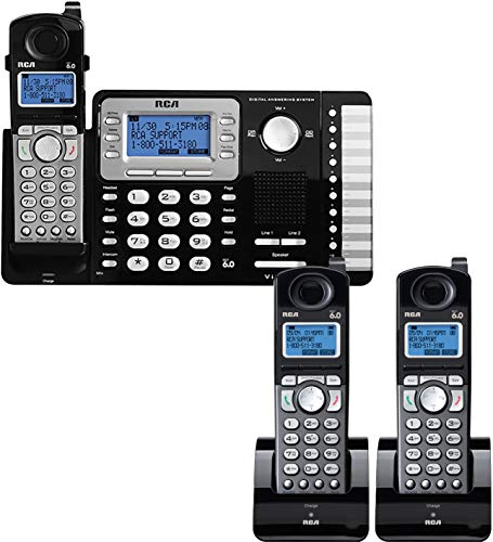 RCA 25252 2-Line Phone System with Full Duplex Speakerphone Bundle with 2-Pack of RCA 25054 DECT 6.0 Cordless Handsets