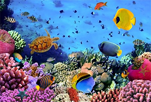 AOFOTO 5x3ft Under Sea Seabed World Backdrop Underwater Scene Colorful Marine Coral Fishes Aquarium Photography Background Diving Holiday Photo Studio Props Kid Girl Baby Child Infant Boy Portrait