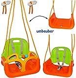 alles-meine.de GmbH mitwachsende - Babyschaukel / Gitterschaukel mit Gurt -  ORANGE / GRÜN / GELB  - Leichter Einstieg ! - mitwachsend & verstellbar - 100 kg belastbar - Kinder..