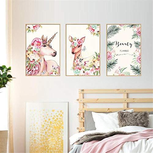 Myytcy Acuarela Flores Unicornio Arte de la Pared Lienzo Posters Nordic Nursery Prints Pintura Cuadro de la Pared para la Sala de Estar Moderna decoración para el hogar