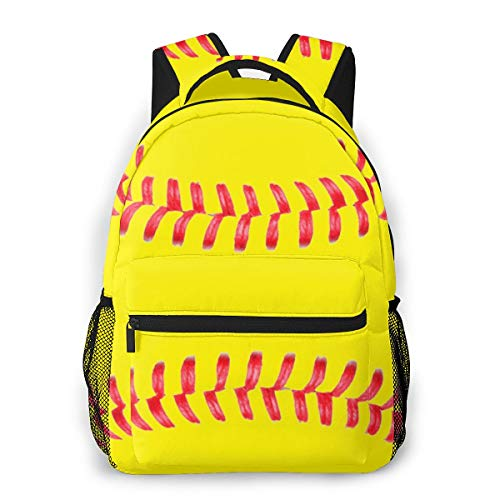 Yellow Softball Red Stripes Casual Bookbag Backpack For Teen Girls Boys Gift
