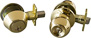 Design House 727040 Bay 6-Way Universal Entry Door Knob and Deadbolt Combo, Polished Brass