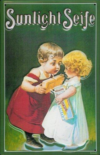 Blechschild Nostalgieschild Sunlicht Seife grün Junge Mädchen Kinder Retro Schild