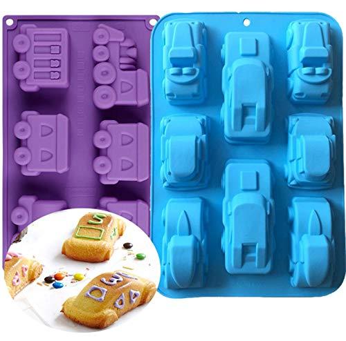 KBstore 2 Stück Zug und Auto Form Antihaft Silikon Backform Kuchen Backform - Muffinform Brotbackform für Kuchen, Seife, Gelee, Muffins, Pudding, Cake #1
