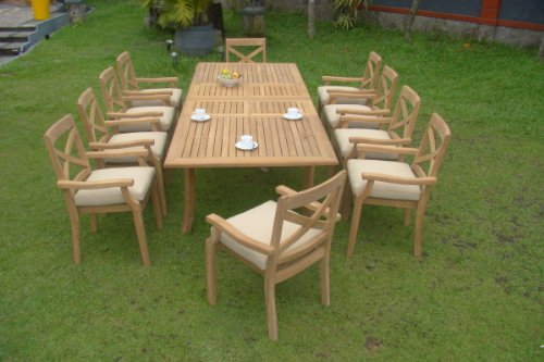 """Hot Sale Granada 11 Pc Luxurious Grade-A Teak Wood Dining Set : Large 117"""" Rectangle Table And 10 Stacking Arm Chairs"""