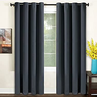 TEKAMON Blackout Curtains Thermal Insulated Grommet Draperies Room darkening Panels for Living room, Bedroom, Nursery by (W52 X L84, 2 Panels, Dark Gray)