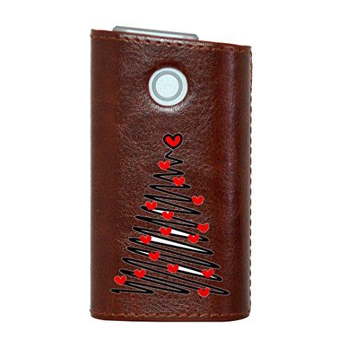 glo グロー グロウ 専用 レザーケース レザーカバー タバコ ケース カバー 合皮 ハードケース カバー 収納 デザイン 革 皮 BROWN ブラウン ラブリー ハート ツリー 005797