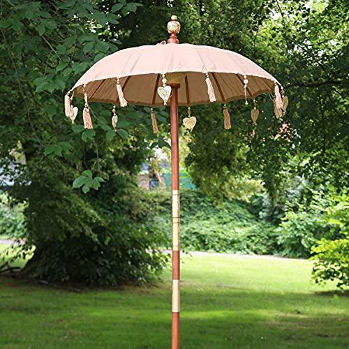 Oriental Galerie Bali Sonnenschirm Balinesischer Schirm Garten Baumwolle Sonnenschutz Handarbeit Retro Vintage Dekoschirm 2-teilig ca. 90 cm Hellbraun