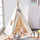 Avrsol Teepee Tent for Kids, Natural Cotton Canvas Foldable Children Teepee Play Tent for Girl Boy with Gift 2 Pompoms 3.15'