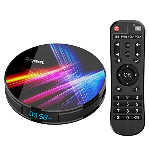 Android 10.0 TV Box 【4GB RAM+32GB ROM】 Bqeel Android TV Box RK3318 Quad-Core 64bit Cortex-A53 Soporte 2k*4K, WiFi 2.4G/5G,BT 4.0 , USB 3.0 Smart TV Box