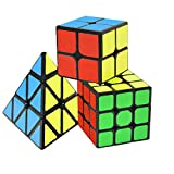 Speed Cube Set,Puzzle Cube, 3 Pack Magic Cubes Pyraminx + 2x2x2 + 3x3x3 Puzzle Cube Toy Gift for Kids & Adults