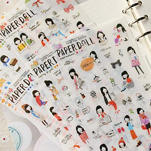 Leuke Potlood Tekening Meisje Mini Pvc Transparant Koreaanse Stickers Papieren Flakes Kids Decoratief Voor Kaarten Stationery6 Bladen/partij