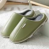 Zapatillas de casa Antideslizantes Impermeables para Hombres y Mujeres Zapatillas de casa cálidas Zapatillas de Piso para Interiores para Parejas-Green_36-37