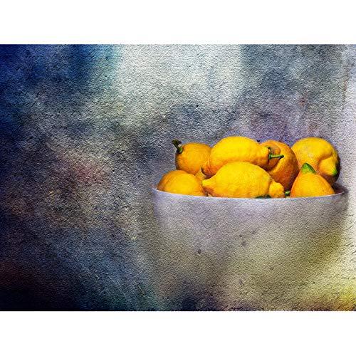 Wee Blauwe Coo Mp Samenstelling Bowl Fruit Citroenen Citrus Geel Voedsel Bitter Grote Ingelijste Print