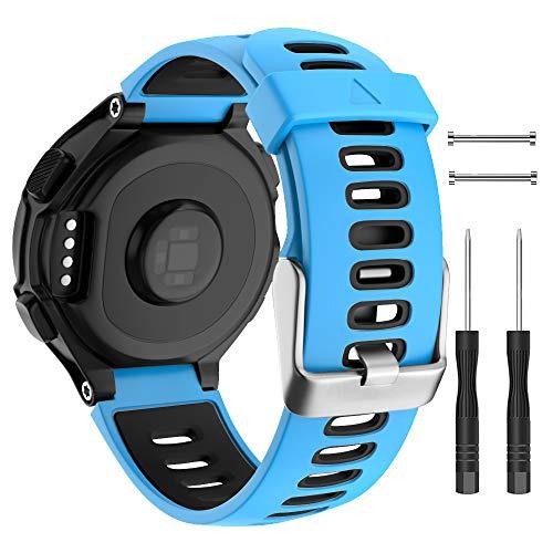 Isabake für Garmin Forerunner 735XT Armband Ersatz, Garmin 235 Band, weiches Silikonband für 620 630 235 235Lite 220 230 735XT Smartwatch-Zubehör (Blau)