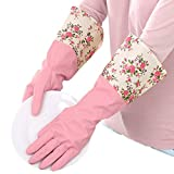 1 Pair Pink Flower Rubber Gloves Non-slip Waterproof Warmer Winter Household Dishwashing Long Cuff Latex Glove With Fleece Lining For Women Household Cleaning Kitchen