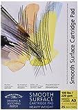 Winsor & Newton - Bloc de Dibujo Papel Satinado Blanco Puro, 220 grs, 25 hojas, Engomado, A3