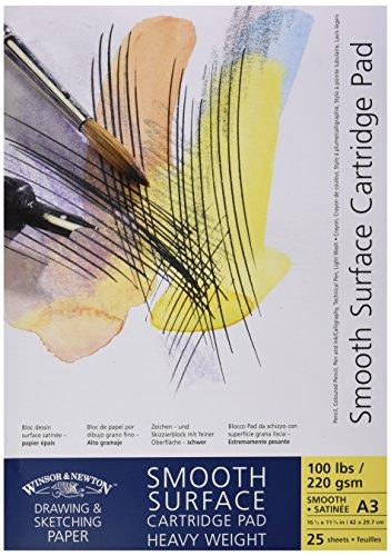 Winsor & Newton Zeichenblock, glatte Oberfläche, reinweiß, geleimt, reinweiß, 220g/m², 25 - Blatt, DIN A3