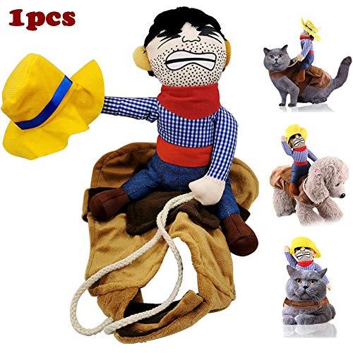 WMWJDQ Huisdier Kostuum Hond Kostuum Kleding Huisdier Outfit Pak Cowboy Rider Style, Halloween Huisdier Hond/Katten Kostuum, Halloween Decoratie