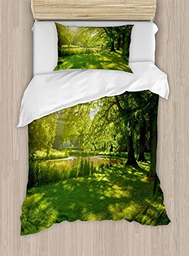 ABAKUHAUS Groen Dekbedovertrekset, Summer Park Hamburg, Decoratieve 2-delige Bedset met 1 siersloop, 130 cm x 200 cm, Groen