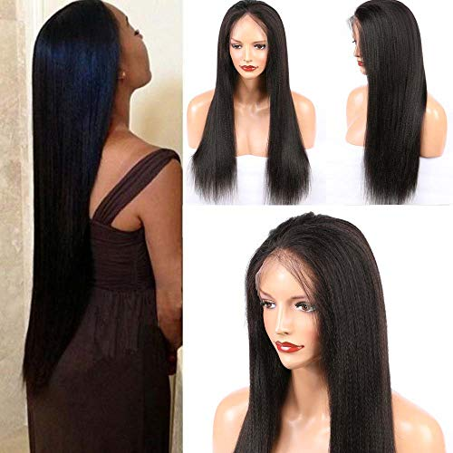 ALYSSA Unprocessed Human Virgin Hair Pre Plucked Hairline Coarse Yaki Glueless Lace Wig Best Indian Hair Straight Lace Front Wigs For African Americans 22in Natural Color