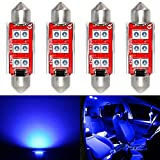 Phinlion Super Bright 212-2 LED Bulb 3030 6-SMD Festoon 41mm 42mm 211-2 214-2 578 Bulbs for Car Interior Map Dome Trunk Courtesy Light, Blue (4 Pack)