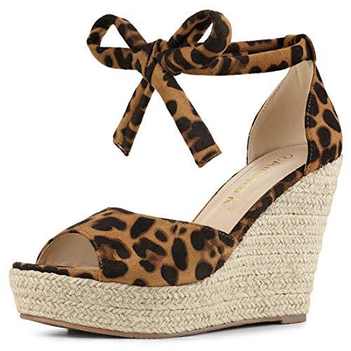 Allegra K Women's Espadrilles Tie Up Ankle Strap Wedges Leopard Sandals - 8.5 M US