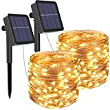 kolpop Solar String Lights 2Pack 240LED Total Solar Powered Fairy Lights Outdoor 8 Modes Copper Wire Decoration Christmas Lights Waterproof for Garden Yard Camping Patio Trees Party Deco(Warm White) …