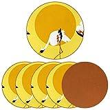 Paquete de 6 posavasos para bebidas, grúas Clipart Set de tazas de vacaciones para decoración de bar de inauguración de la casa