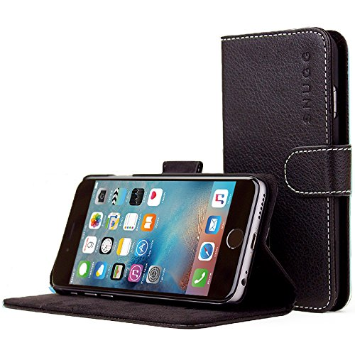 Snugg iPhone 6 Case, Black Leather iPhone 6 Flip Case Premium Wallet Phone Cover with Card Slots for Apple iPhone 6