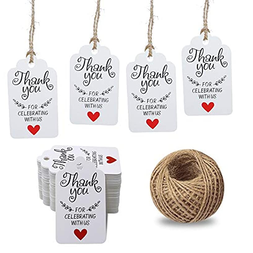 Original Design Thank You for Celebrating with Us Tags,100PCS 7cm X 4cm Paper Gift Tags with 100 Feet Natural Jute Twine Kraft Hang Tag for Wedding Party Favors, Baby Shower Decorations (White)