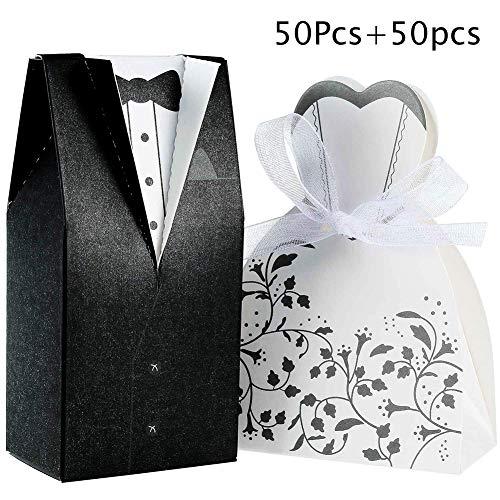 INTVN 100 Stück Süßigkeiten Schachtel Hochzeitskasten Bonbons Schachtel für Hochzeit, (50 Paar) Hochzeit Brautkleid Entwurf Brautpaar Gastgeschenk