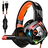 STOGA Professional Gaming Headset with 50MM Comfy Earmuffs, Over Ear Headphones with Noise Canceling Microphone & LED Light, Compatible with PS4, Xbox One, Switch, PC, PS3, Mac, Laptop